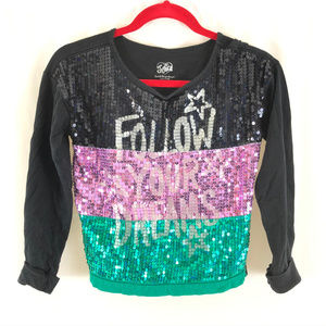 Justice Girls Top Sequin Follow Your Dreams 12